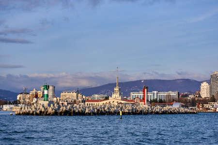 View of seaport in Sochi. RUSSIA Stock Photo