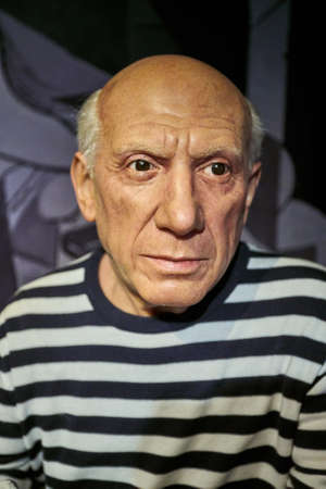 printmaker: Amsterdam, Netherlands - September 05, 2017: Pablo Picasso, Spanish painter, sculptor, printmaker, Madame Tussauds wax museum in Amsterdam