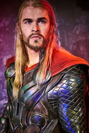Amsterdam, Netherlands - September 05, 2017: Chris Hemsworth as Thor, Marvel section, Madame Tussauds wax museum in Amsterdam