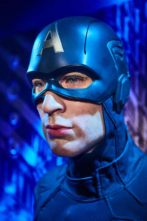 Amsterdam, Netherlands - September 05, 2017:Wax figure of Chris Evans as Captain America in Madame Tussauds Wax museum in Amsterdam Editorial