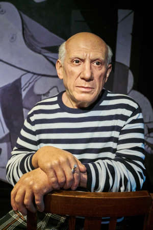 Amsterdam, Netherlands - September 05, 2017: Pablo Picasso, Spanish painter, sculptor, printmaker, Madame Tussauds wax museum in Amsterdam