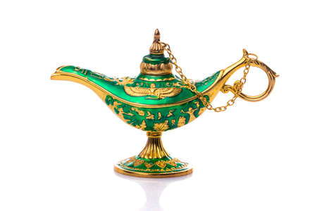 Vintage lamp of Aladdin. Old style oil lamp. Ancient lamp. Genie lamp also called Aladdin lamp with pharaonic symbols