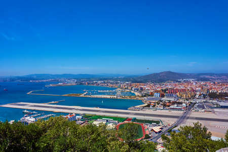Aerial view of Gibraltar. Gibraltar capital of Gibraltar UK Foto de archivo - 103451049
