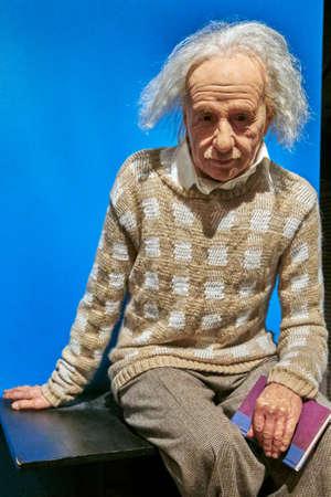 Amsterdam, Netherlands - September 05, 2017: Albert Einstein wax statue in Madame Tussauds museum  in Amsterdam
