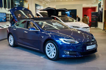 Dusseldorf, Germany - September 09, 2017: Electric car  Tesla  in a Tesla Motors store in Dusseldorf, Germany Editorial