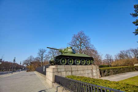 Soviet tank memorial in Berlin. Architectural detail of the Soviet War Memorial Stock Photo