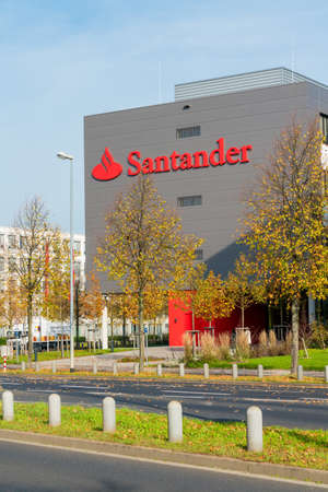 Moenchengladbach,Germany, Oktober 19, 2017: Exterior view of Santander Bank building in Germany, Moenchenglabdach