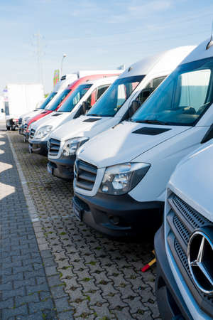 MOENCHENGLADBACH, GERMANY - APRIL 30, 2017: Mercedes Benz showroom.  cars in the row in exhibition point