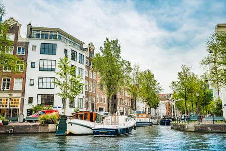 Amsterdam, the Netherlands, September 5, 2017 : Amsterdam Netherlands dancing houses over river Amstel