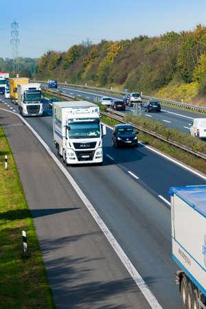DUSSELDORF ,GERMANY - OKTOBER 19: transport truck on the highway on Oktober 19,2017 in Dusseldorf, Germany. truck on asphalt road