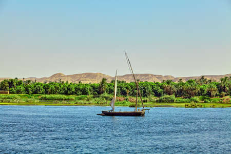 Traditional Boat on the Nile River in  Egypt 스톡 콘텐츠