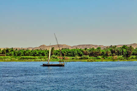 Traditional Boat on the Nile River in  Egypt Stock Photo