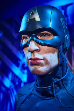 Amsterdam, Netherlands - September 05, 2017:Wax figure of Chris Evans as Captain America in Madame Tussauds Wax museum in Amsterdam Editöryel