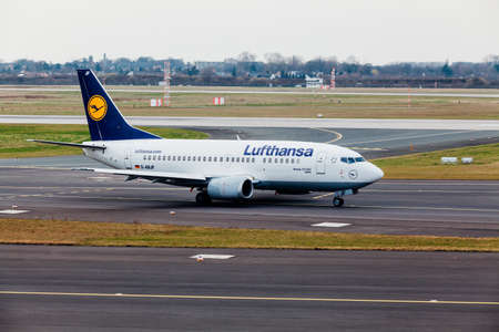 GERMANY, DUSSELDORF - 12 MARCH, 2011: Aircraft line Lufthansa Airbus  taxiing on the airport runway.Lufthansa  airplane at Dusseldorf airport