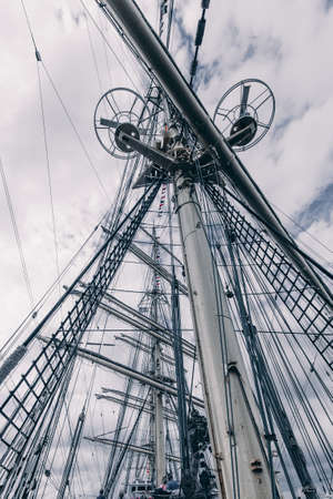 Old sailing ship mast. Tall ship rigging detail.  Masts and rigging of a sailing ship