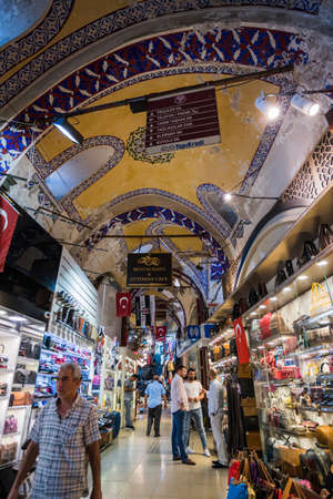 ISTANBUL, TURKEY - July 12, 2017: Grand Bazaar in Istanbul with unidentified people. It's one of the largest and oldest covered markets in the world