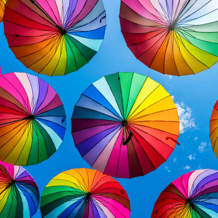 Colorful umbrellas background. The sky of colorful umbrellas