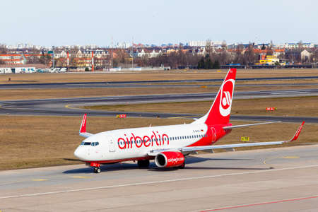 BERLIN, GERMANY - MARCH 02, 2015: Air Berlin Airbus arrives to the Tegel International Airport