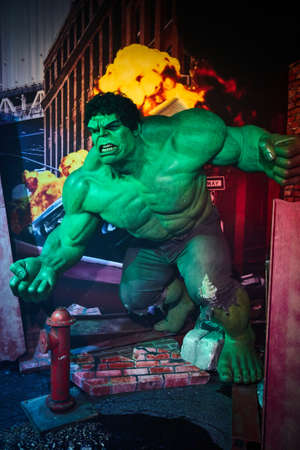 Amsterdam, Netherlands - September 05, 2017: Hulk, Bruce Benner, Marvel section, Madame Tussauds wax museum in Amsterdam