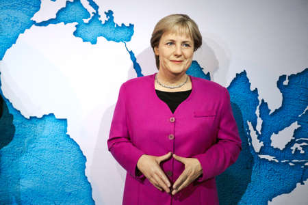 Amsterdam, Netherlands - September 05, 2017:  Angela Merkel, German cancelloe, Madame Tussauds wax museum in Amsterdam Editorial