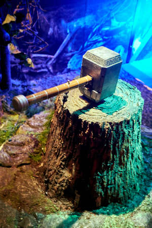 Amsterdam, Netherlands - September 05, 2017:  Thors Hammer, Marvel section, Madame Tussauds wax museum in Amsterdam Editorial