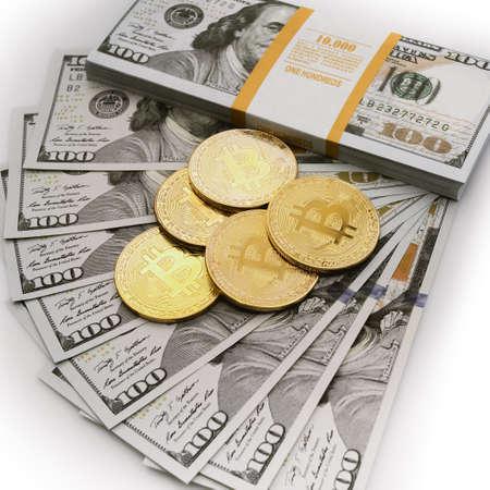 Bitcoin  concept. golden bitcoin coin on us dollars Stok Fotoğraf