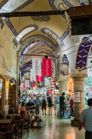 ISTANBUL, TURKEY - July 12, 2017: Grand Bazaar in Istanbul with unidentified people. Its one of the largest and oldest covered markets in the world