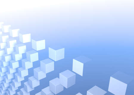 abstract image of cubes background in blue Stock Photo