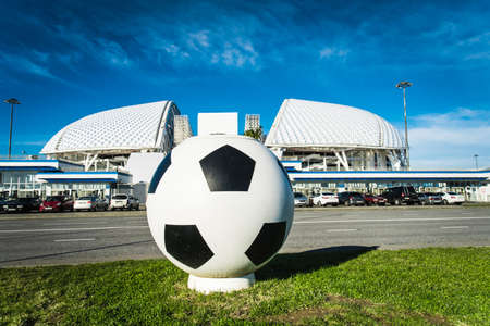 SOCHI, RUSSIA - DECEMBER 12, 2017:Stadium Fisht in the Olympic Park.Football stadium decorated with symbols of the FIFA Confederations Cup