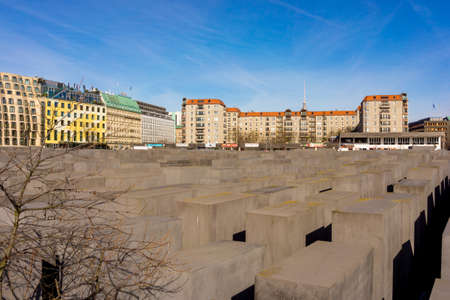 BERLIN, GERMANY - MARCH 03, 2015: Holocaust Memorial on Berlin, varios gray cubes to remember murdered people