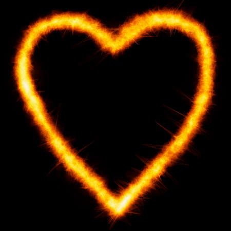 Hot burning symbol of heart. Fire heart