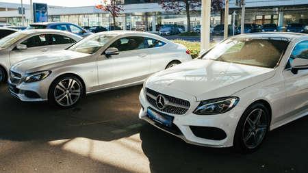 MOENCHENGLADBACH, GERMANY - APRIL 30, 2017: Office of official dealer Mercedes-Benz. Mercedes-Benz is a German automobile manufacturer