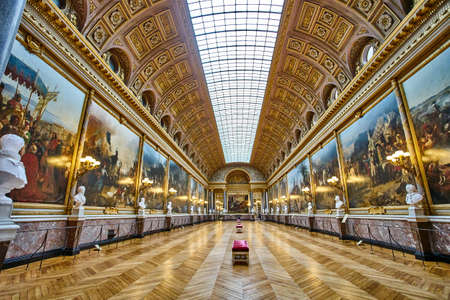 VERSAILLES, FRANCE - FEBRUARY 14, 2018: The Battle Gallery  in the southern wing of Palace of Versailles, the residence of the sun king Louis XIV