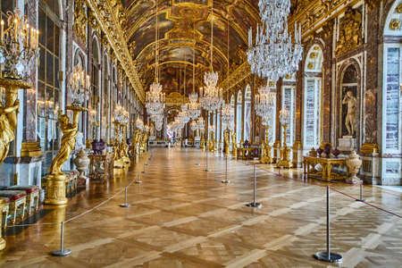 VERSAILLES, FRANCE - FEBRUARY 14, 2018: Hall of Mirrors in the palace of Versailles, France
