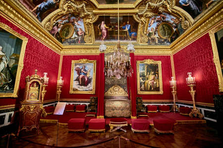 VERSAILLES, FRANCE - FEBRUARY 14, 2018: Interior of Chateau de Versailles (Palace of Versailles) near Paris. Versailles palace is in UNESCO World Heritage Site list since 1979