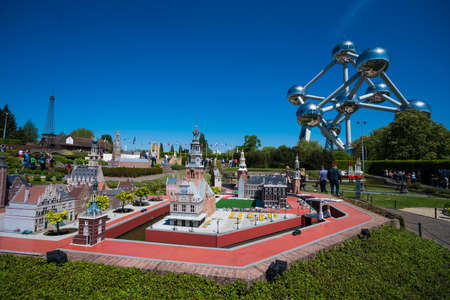 BRUSSELS, BELGIUM - 05 MAY 2018: Mini Europe is a miniature models of Europe 's famous landmarks