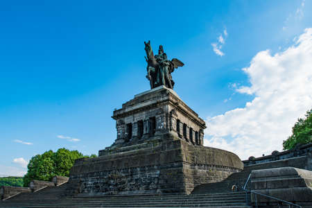Monument to Kaiser Wilhelm I (Emperor William) on Deutsches Ecke (German Corner) in Koblenz, Germany