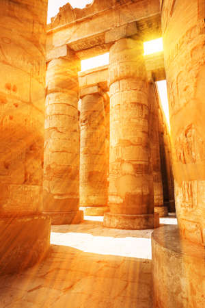 A sandstone column in Egypt.  columns covered in hieroglyphics Banco de Imagens