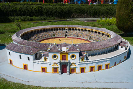 BRUSSELS, BELGIUM - 05 MAY 2018: Miniatures at the park Mini Europe - reproduction of the bullring at Seville, Spain 報道画像