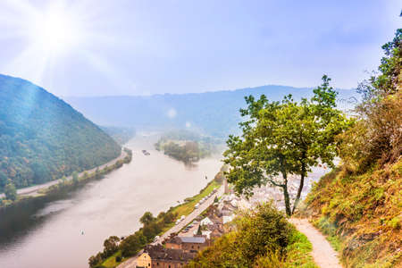 Landscape with the river Moselle in Germany. panorama of Moselle valley and Mosel Stock Photo