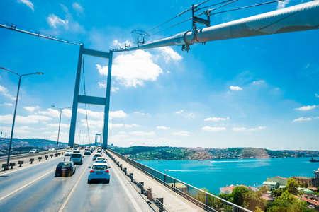 ISTANBUL, TURKEY - JULY 11, 2017: Traffic on Bosphorus Bridge. Bridge on Bosphorus connecting the european waterside of Istanbul with the asian waterside Editorial