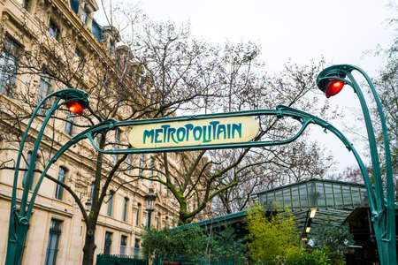 Paris metro sign, art nouveau style