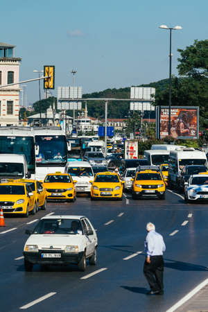 ISTANBUL, TURKEY, JULY 11, 2017: Traffic jam in the historical center of Istanbul Editorial