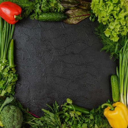 assorted green  vegetables on black