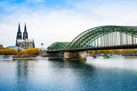 Cologne over the Rhine River with cruise ship in Cologne, Germany