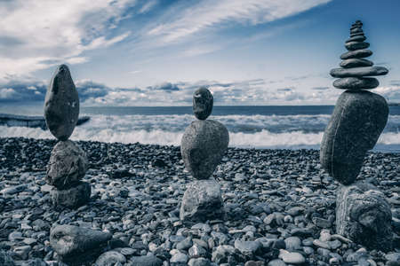 Balance stones against the sea