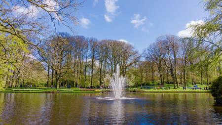 KEUKENHOF, LISSE, NETHERLANDS - April 18, 2016: Keukenhof park in Amsterdam area, Netherlands. Spring blossom in Keukenhof
