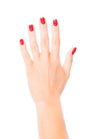 Stylish trendy female manicure. red manicure nails Banco de Imagens - 121885300