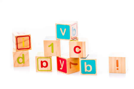 Toy cubes. Baby collection. ABC letters made from baby toys