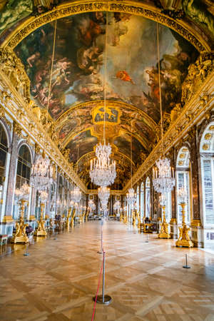 VERSAILLES, FRANCE - February 14, 2018 :Hall of Mirrors in the palace of Versailles